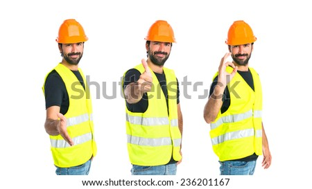 Set of Workman making a deal over isolated white background