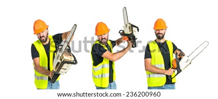 Set of Workman with chainsaw over white background - stock photo