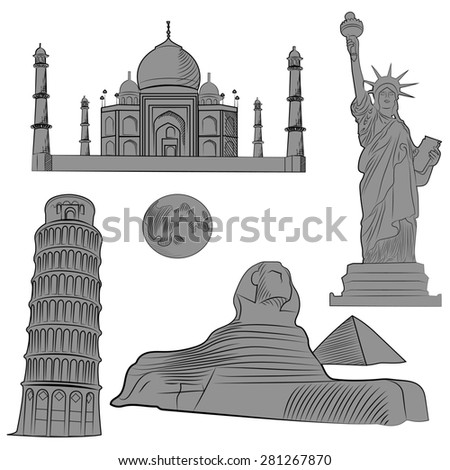 Set of world famous architectural landmarks of various countries, monochrome with detailed.  illustration - stock photo