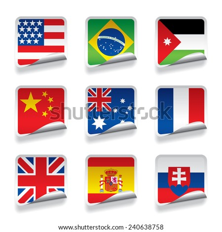 Set of world sticker flags. Contain the Clipping Path - stock photo