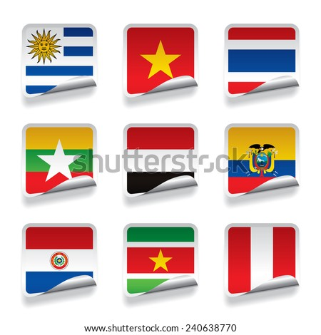 Set of world sticker flags. Contain the Clipping Path