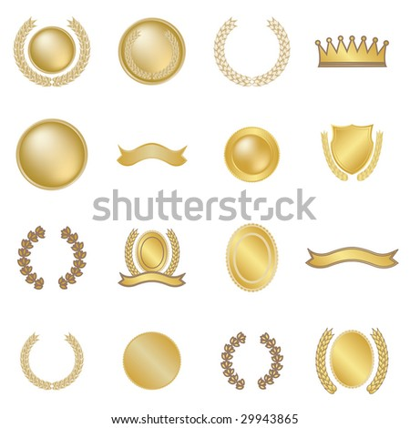 Set of 16 wreaths and medallions - stock photo