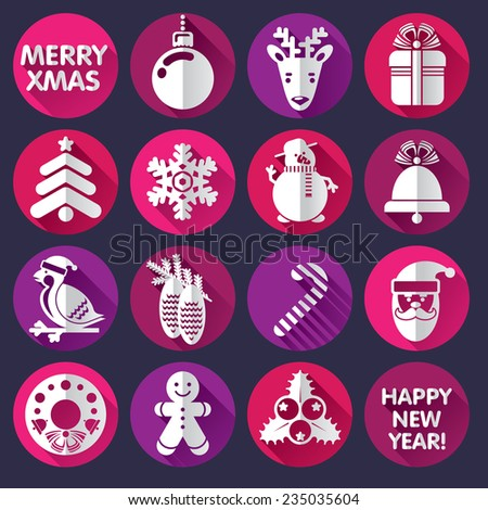 set of Xmas and New Year icons or greeting card - stock photo