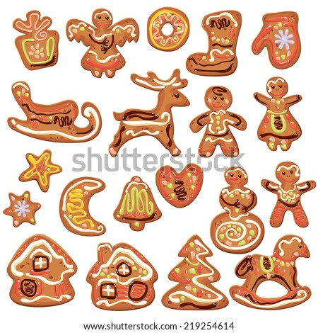 Set of xmas gingerbread isolated on white - cookies in reindeer, star, moon, people, heart, house and fir-tree shapes. Elements for Christmas and New Year design. Raster version - stock photo
