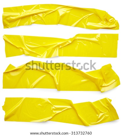 Set of yellow adhesive tapes isolated on white background - stock photo