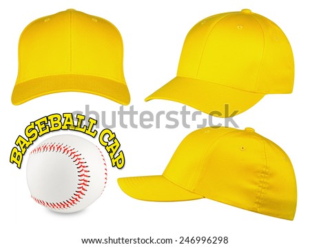 Set of yellow baseball caps with baseball - stock photo