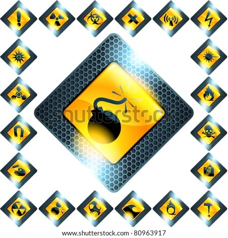 Set of 21 yellow hazard signs (jpg); vector version also available
