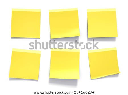 Set of yellow sticky notes used in an office for reminders and important information - stock photo