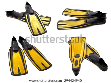 Set of yellow swim fins for diving isolated on white background - stock photo