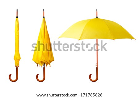 Set of yellow umbrellas isolated on white background. Opened and folded umbrellas on white - stock photo