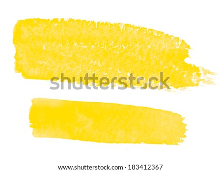 Set of Yellow Watercolor Brush Strokes, raster illustration