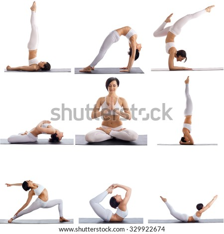 Set of yoga poses by slim woman, isolated on white - stock photo