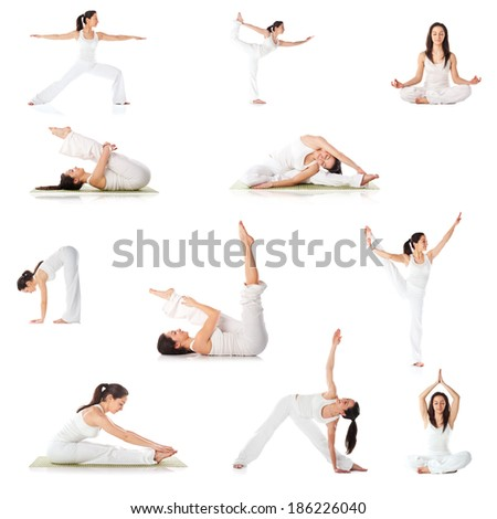 Set of yoga poses isolated on white background  - stock photo