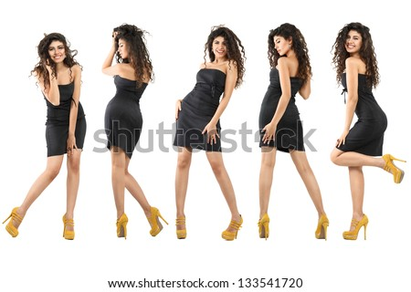 Set of young dancing women isolated over white background - stock photo