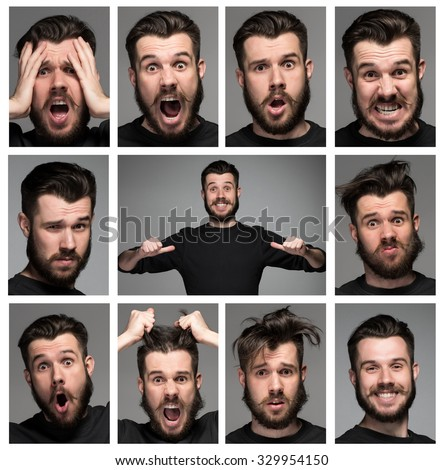 Set of young man's portraits with different emotions on gray background