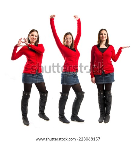 Set of young pretty woman winner on white background