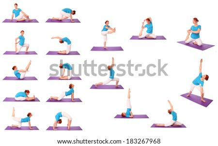 Set of Young woman exercise yoga pose on mat