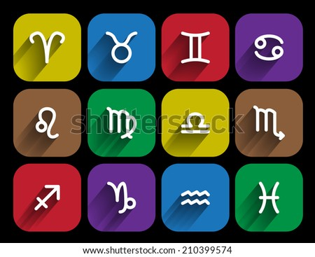 set of zodiac signs in flat style - stock photo