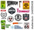 Set of zombie signs, graphics, and related symbols - stock photo