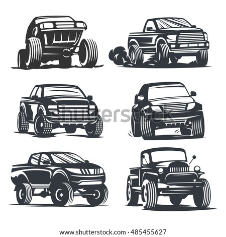Set off-road suv car monochrome labels, emblems, badges or logos isolated on white background. Off-roading trip emblems, 4x4 extreme club emblems. Raster copy of vector file.