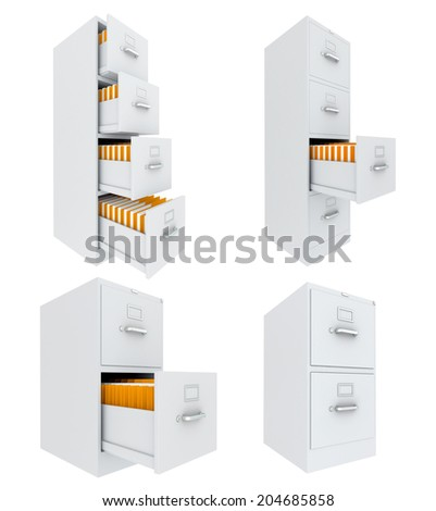 set office archives cabinet. isolated on white background - stock photo