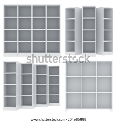 set office cabinet. isolated on white background - stock photo