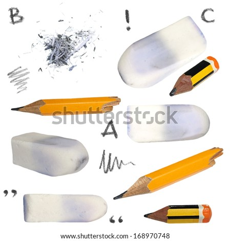 set old pencil, erasers, isolated on white background, with clipping path  - stock photo