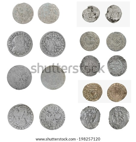 Set  old silver Poland  coins of the 16th century - stock photo