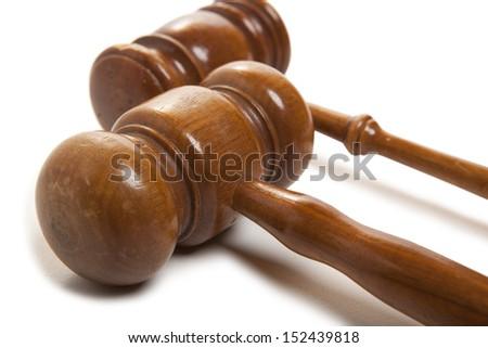 Set old wooden judges gavel isolated on white  - stock photo