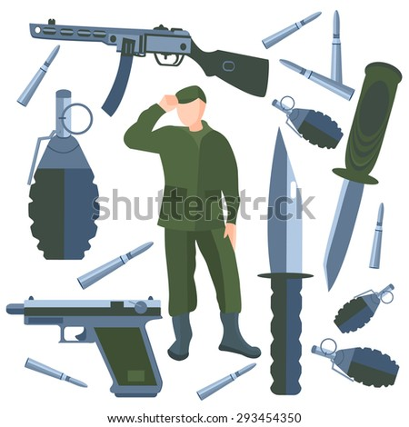 Set on a military theme. Weapons of war, soldier on a white background.  illustration in cartoon style. Icons weapons, knives, grenades bullets  into a flat style. Isolated  Illustration - stock photo