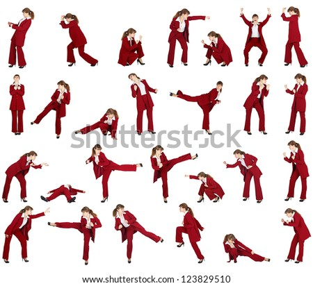 Set on a white background - business woman in different combat postures - stock photo
