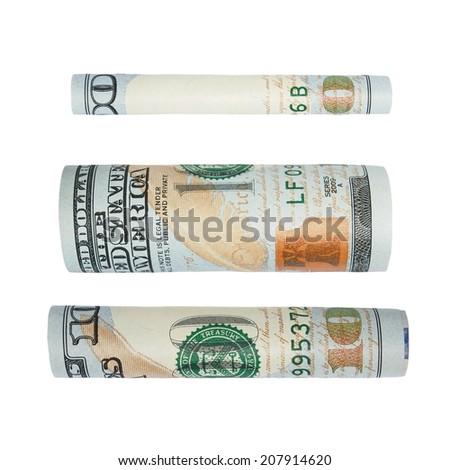 set one hundred dollar bill isolated on white - stock photo