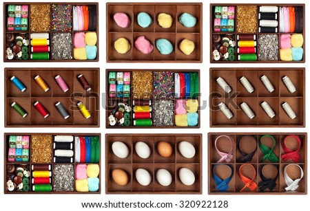 Set or  Assortment of different   tailoring materials and eggs(tape-measure,safety pins,needles,zippers,buttons,spivels,threads and cottons) in vintage or retro wooden box isolated on white background - stock photo