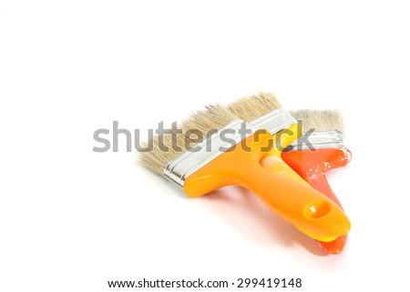 set painbrushes isolated white background - stock photo