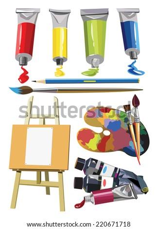 set painter easel paint tubes brush pens - stock photo