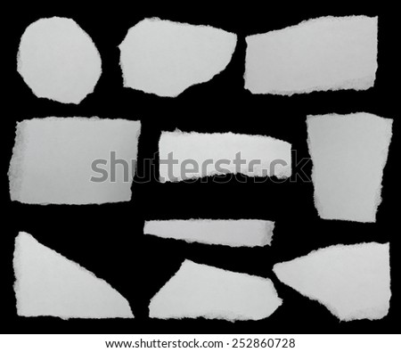 set paper scraps isolated on black background with clipping path,  high definition - stock photo