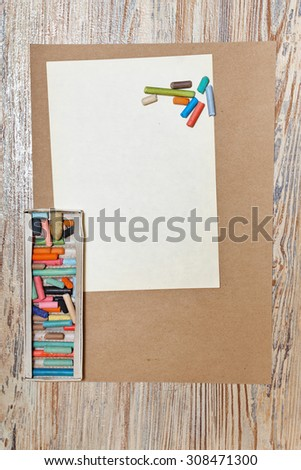 Set pastel pencils in the box. Artistic set. Development of creative thought. - stock photo