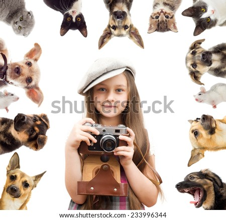 set pet and child photographer - stock photo