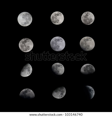 Set Phases of The Moon - stock photo