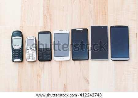 set phones - old and new devices - stock photo