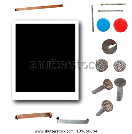 Set Photo and Screw heads, bolts, steel nuts,old metal nail, staples, pushpin, old metal pin  isolated on white background - stock photo