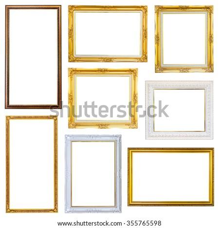 Set photo frame isolated on white background - stock photo