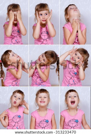 Set photos of a cute little girl. Portrait of baby with different facial expressions - stock photo