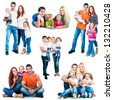 set photos of a happy smiling families isolated on white background - stock