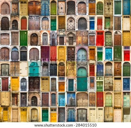 set photos of doors on the old districts of Europe - stock photo