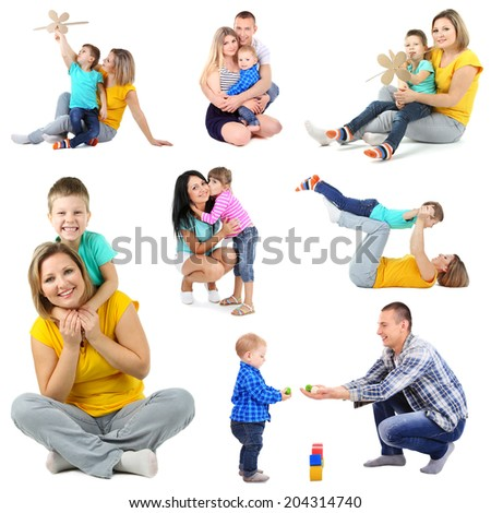 Set photos of happy families isolated on white - stock photo
