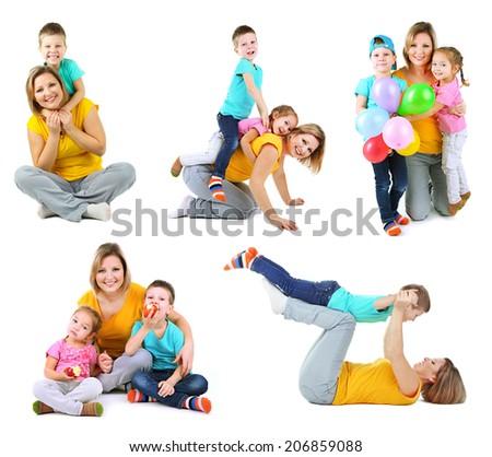 Set photos of happy families isolated on white - stock photo