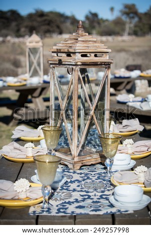 Set picnic table at an outdoor park - stock photo