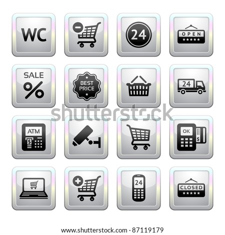 Set pictogram supermarket services, Shopping Icons. Gray. Web 2.0.