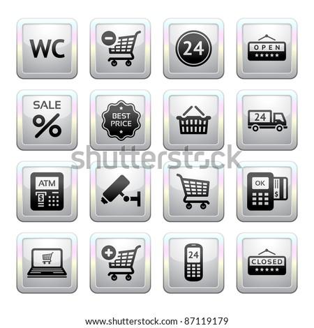 Set pictogram supermarket services, Shopping Icons. Gray. Web 2.0. - stock photo